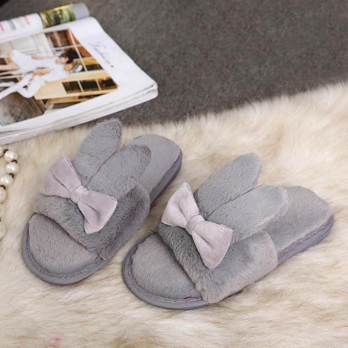 hommes d'hiver chaussures à la maison d'intérieur fausse fourrure pantoufles chaudes gris 4lOqN