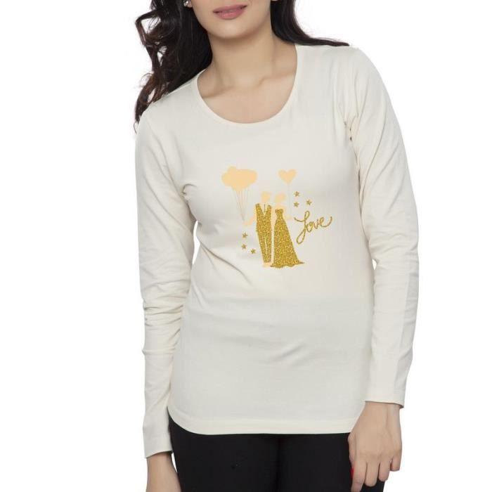5f6e6c05746d4 Clifton Tee-shirt imprimé Femme Manches longues Col rond-Blanc cassé-Doré  Brillant Couple-3-M