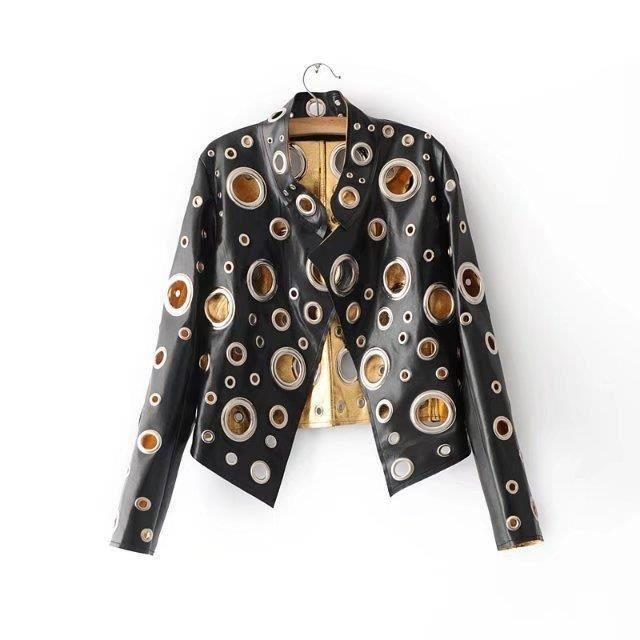 design de qualité a2b3f 28681 Brillant Veste en cuir doré Femmes Cercle en métal Moto Manteau Punk Rock  Faux Veste