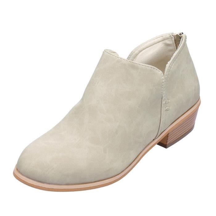 Solide Femmes Cheville Dames Beige Martin Bottes Automne En Cuir De Chaussures Courtes Mode 6wSR1