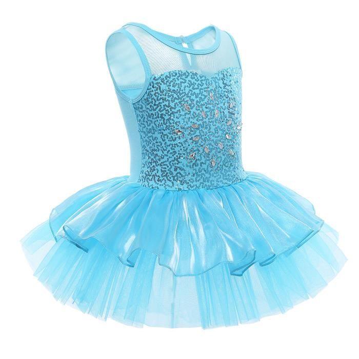 879c3fa6c04 Robe paillette Fille Noël - Justaucorps de Danse Ballet Costume de danse  strass scène Performance spectacle - Enfant 3 à 10 ans