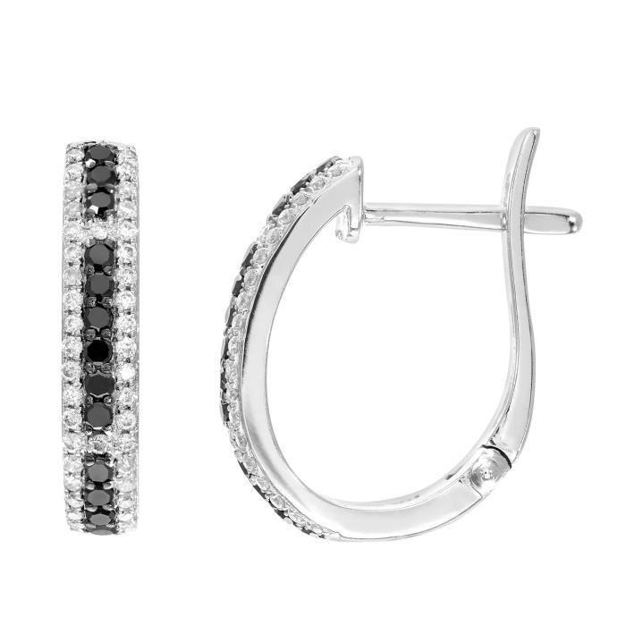 Revoni - Boucles d'oreilles anneaux en or blanc 9 carats et diamants blancs et noirs - REVCDDE1515WBLKD