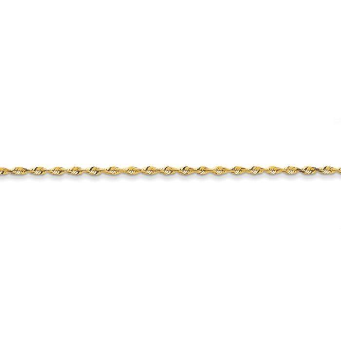 2.15 mm 14 carats-Diamant-Taille Extra-light Bracelet chaine de corde 23 cm