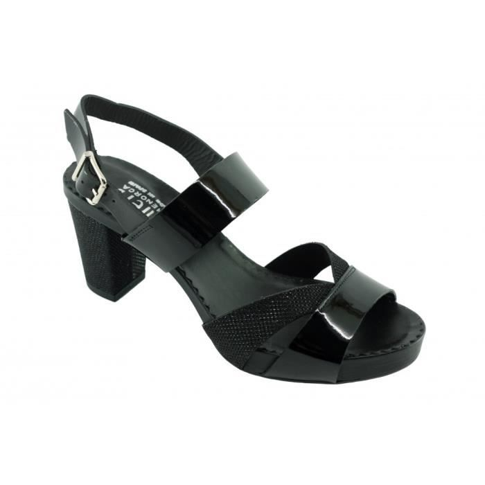 tailles marque à vernis petites LLOBERA D'EN PLAYA cuir noir raffinée pointures chaussures femme plateforme Sandale Plumers PUvxAwxqI