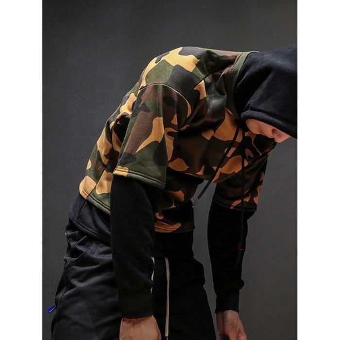 À Capuchon Survêtement Outwear D'hiver Veste Pardessus Camouflage Manteau noir Hommes PXwxXCBH