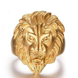 BAGUE - ANNEAU Lion crâne Plaqué or 18 carats personnalité bague