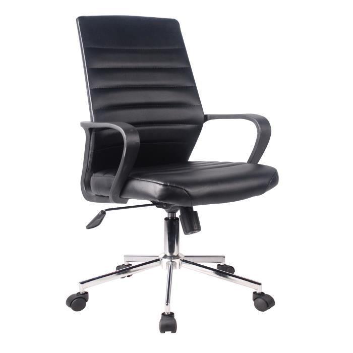 EXECUTIVE Chaise de bureau Simili noir - L 59 x P 61 x H 86-96 cm