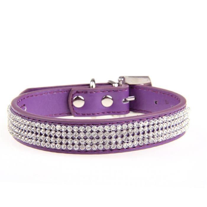 Cristal De Mode Décor Strass Doux Réglable Chien Compagnie Chiot Collier Sécurité S (violet)