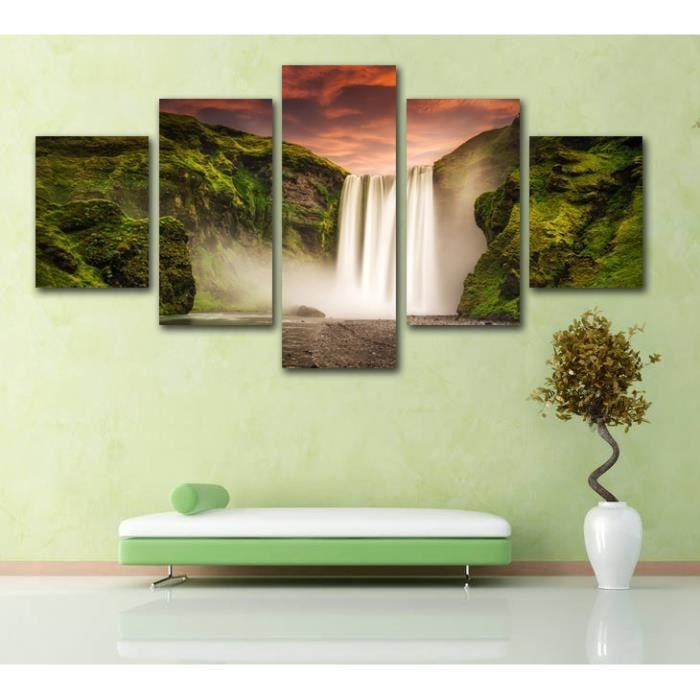Toile Home Decor Wall Art Pictures 5 Pieces Vert Montagne Chute D Eau Peinture Salon Hd Impressions Paysage Affiche