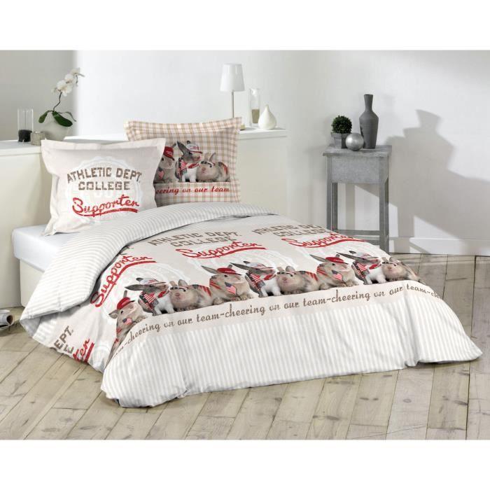 housse de couette lapin college enfant 100 coton 14 220 x 240 cm achat vente parure. Black Bedroom Furniture Sets. Home Design Ideas