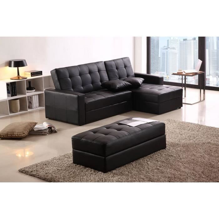 canap d 39 angle droit convertible pouf achat vente canap sofa divan cdiscount. Black Bedroom Furniture Sets. Home Design Ideas