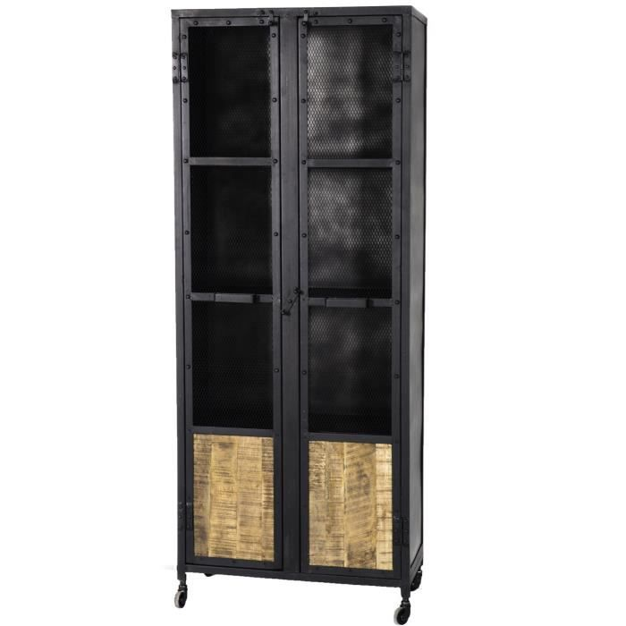 Armoire m tal grillag 70 39 atelier 39 meuble house noir for Meuble atelier metal