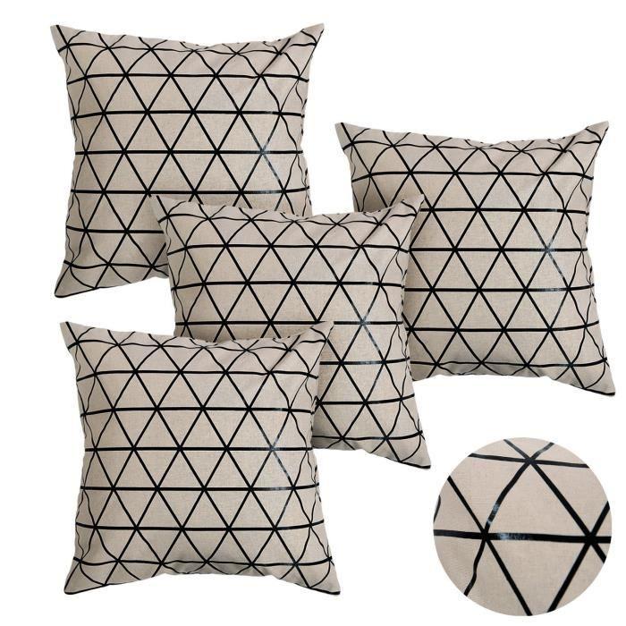 deconovo housse de coussin en coton g om trique noir 45x45cm triangle lot de 4 achat vente. Black Bedroom Furniture Sets. Home Design Ideas