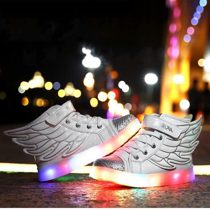 Lumineux Chaussures Enfants Lumière LED Chargement USB 7 Couleur Chaussures de SportsRespirant Baskets