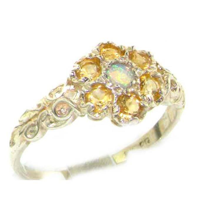 Bague pour Femme en Or blanc 9 carats 375-1000 sertie d Opale Citrine- Tailles 50 à 64
