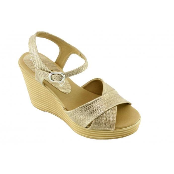 jelila – sandales compensées à brides croisées chaussures pour Femme  fabriqué en Espagne marque Angelina cuir lézard doré 821d4c9dba9b