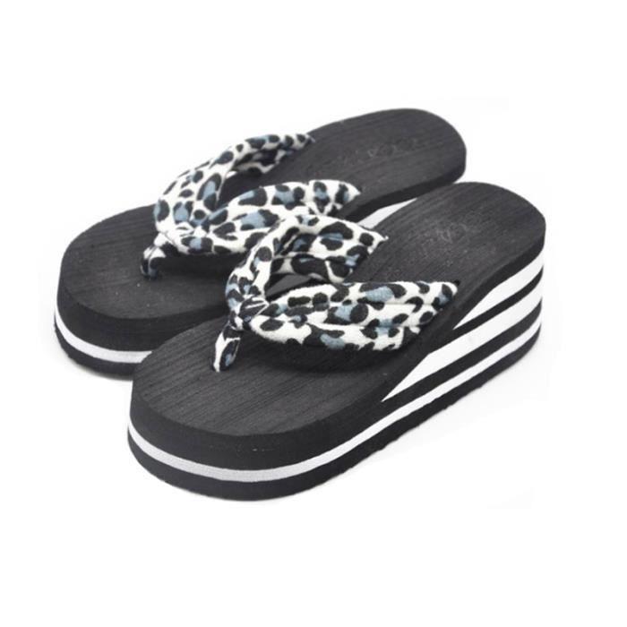 D'été Chaussures Pantoufles Mode Plage Sandales Pantoufles De Plage Leopard Style Femmes Coins Talons Hauts Flip Flops Plate-Forme