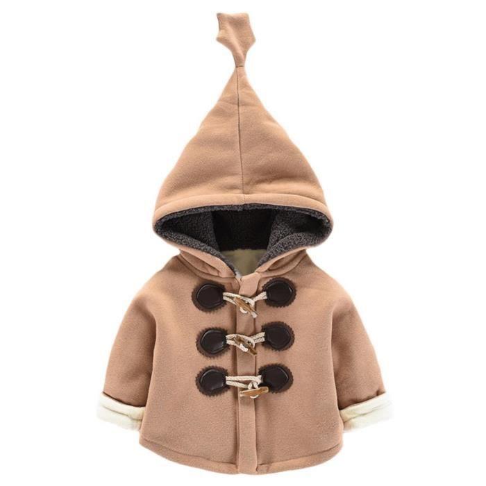 a2122d683ba2a GIFT TOWER Manteau Enfant Fille Garçon Veste avec Velours à Capuche Hiver  Chaud