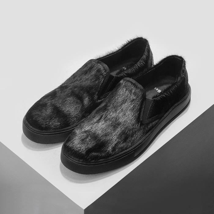 les hommes en cuir d'automne personnalisé fait à la main en cuir de veau respirant crins chaussures en cuir,noir,39