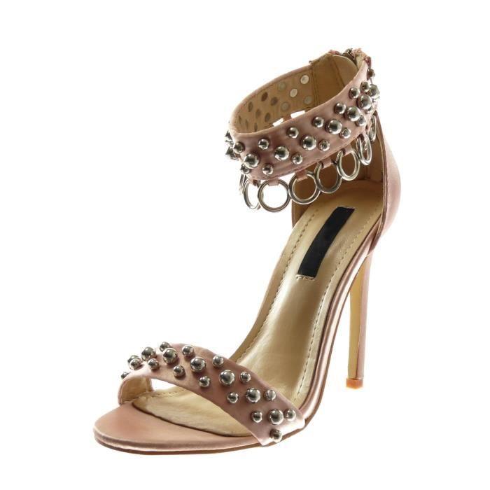 Angkorly - Chaussure Mode Sandale Escarpin lanière cheville stiletto femme perle clouté Anneaux Talon haut aiguille 11.5 CM - Rose