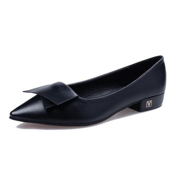 Chaussure Femmes Printemps Été Comfortable Faible Talon Chaussures BSMG-XZ069Noir38