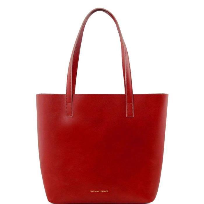 Tuscany Leather - Ilaria - Sac en cuir avec compartiment intérieur amovible - Rouge
