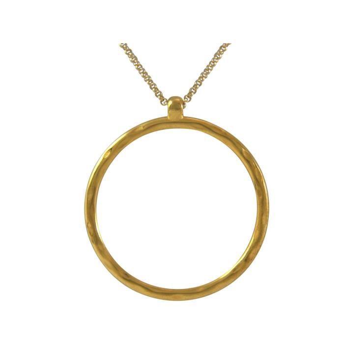 Gemshine - Femmes - Collier - Pendentifs - Eternity Cercle - Minimaliste - géométrique - Design - or - 80 cm