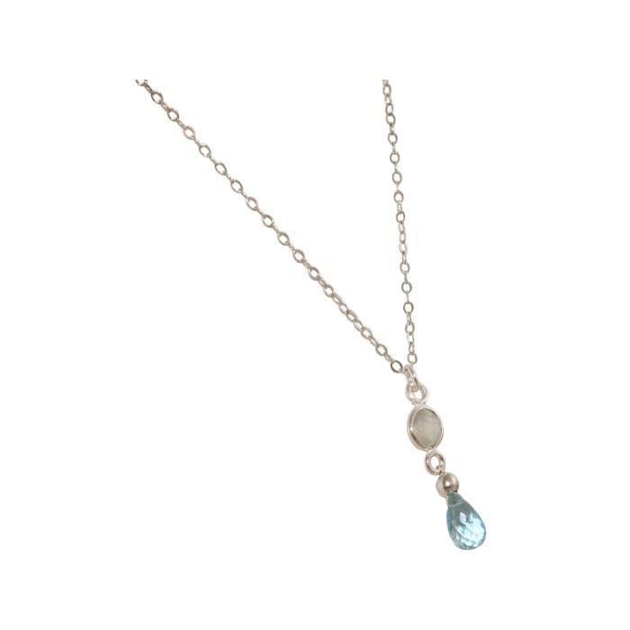 Collier Gemshine avec aigue-marine et onyx. Pendentif en argent 925 ou en or de haute qualité à la chaîne 45 cm. Fait à Munich -