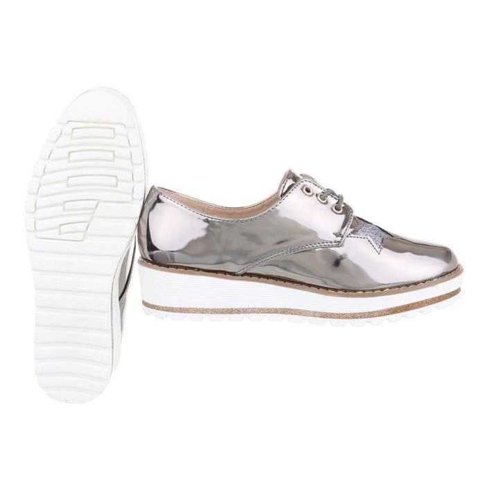 Chaussures femme flâneurs laceter gris argent 41 qST5Ex8