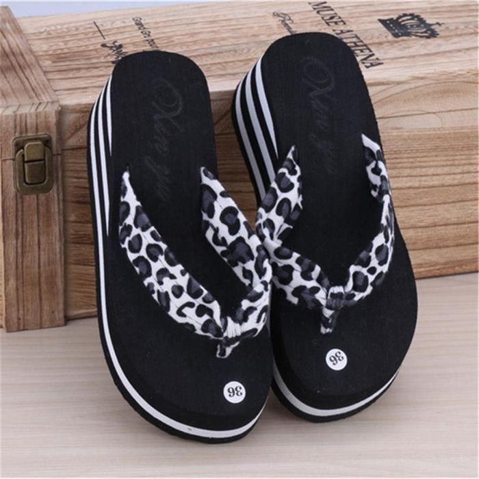 Flops D'été Plage Pantoufles De Style Leopard Chaussures Forme Hauts Coins Mode Flip Plate Talons Pantoufles Femmes Sandales Plage rrZBz0q