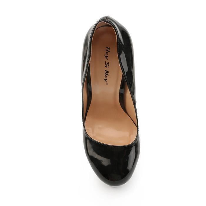 Brevet Escarpin en cuir EXTREME haut talon 22cm haut talon plate-forme Femmes Chaussures sexy fétichiste Talons pompe sexy grande