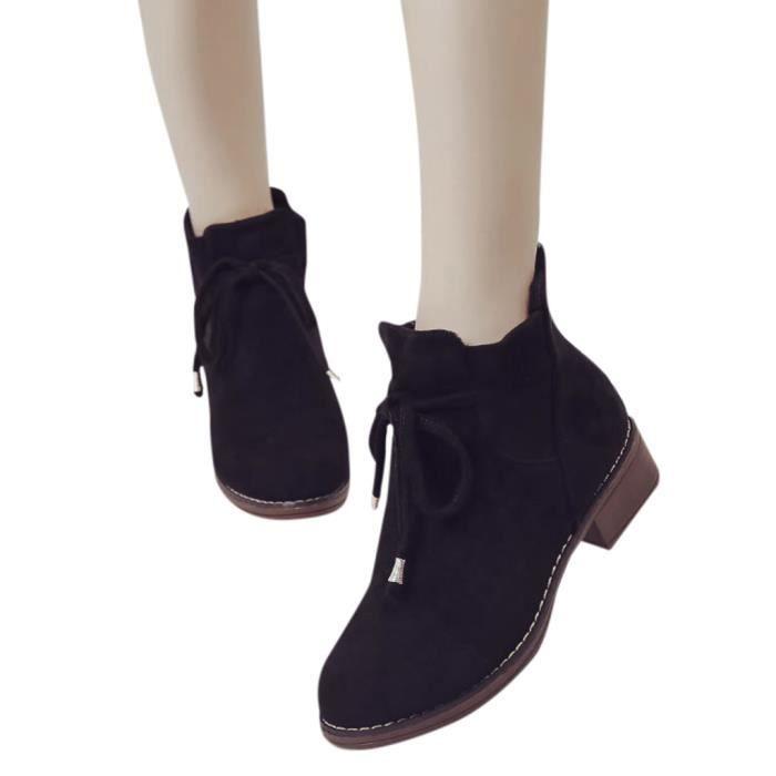 Talon 2266 Zipper Frenchshop Unie Neige Bottes Carré Shoes Femmes Toe Suède De En Ronde Couleur AaqnZ