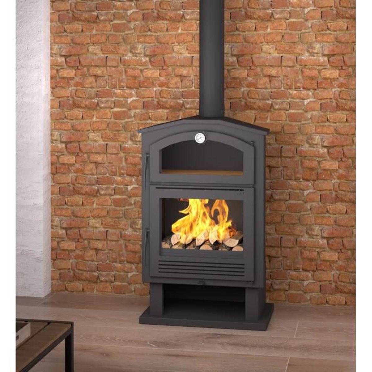 poele bois en acier avec four et b cher achat vente po le insert foyer poele bois en. Black Bedroom Furniture Sets. Home Design Ideas