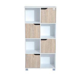 BIBLIOTHÈQUE  Bibliothèque meuble de rangement bicolore 4 casier
