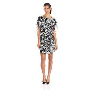 afbb13f78c4c04 ROBE Robe blouson imprimée en noir et blanc pour femmes