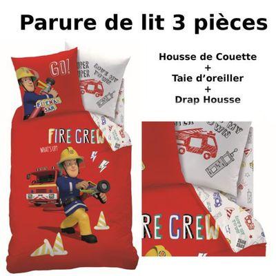 sam le pompier - parure de lit 3 pièces housse de couette + taie d