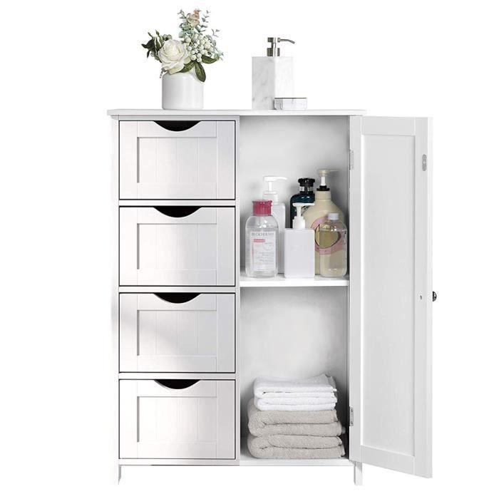 Armoire en bois blanc Meuble de rangement Pour salle de bain ...