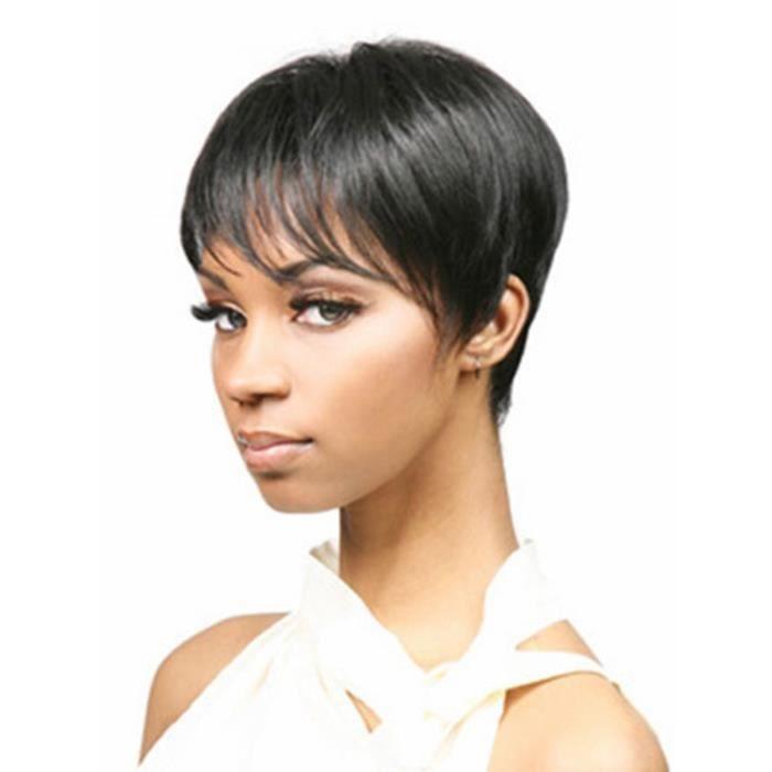 Perruque Femme Cheveux Noirs Raides Courts
