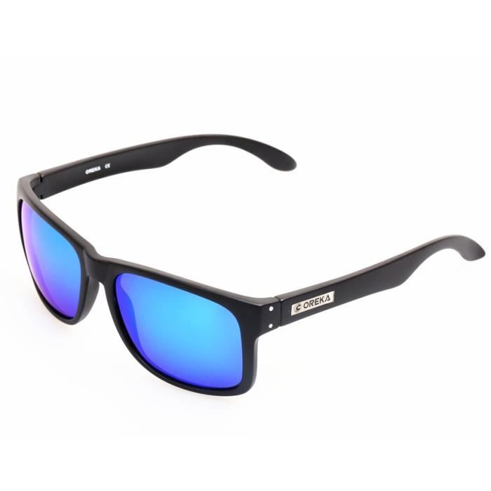 7a9908c8291abe OREKA 14006 mode femmes lunettes de soleil avec monture de lunettes TR + Polaroid  polarisé Bleu REVO Lens (Noir)