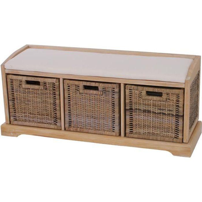 banc banquette bienne avec 3 paniers de rangement bois osier 112x37x46cm achat vente. Black Bedroom Furniture Sets. Home Design Ideas