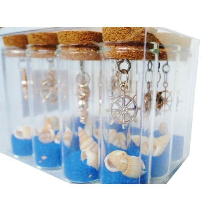 Lot X12 flacons 1€ tube à essai bouchon en liège sable coloré bleu ...
