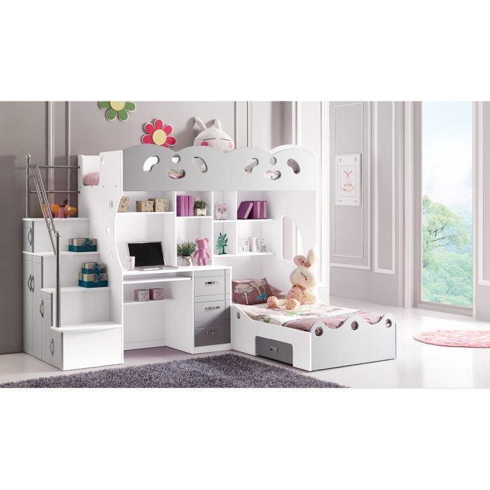 lit double pour enfant multifonction gris et bl achat vente lit combine lit double pour. Black Bedroom Furniture Sets. Home Design Ideas