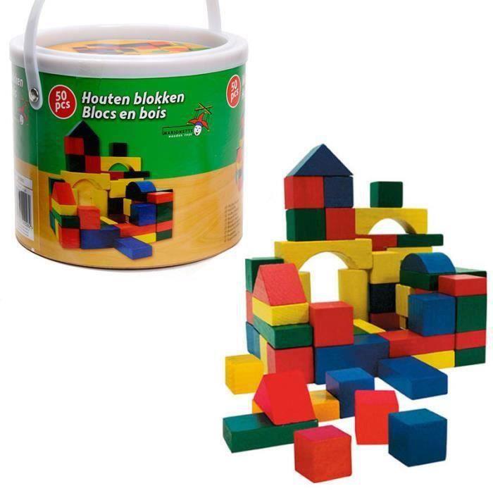 jeu de construction en bois enfant 50 blocs baril de transport achat vente assemblage. Black Bedroom Furniture Sets. Home Design Ideas