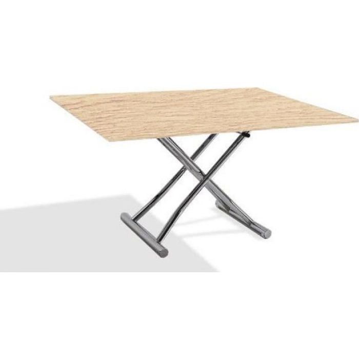 5ae71a9a73e2d8 Table basse HIGH and LOW chêne clair relevable extensible Petite taille  compacte
