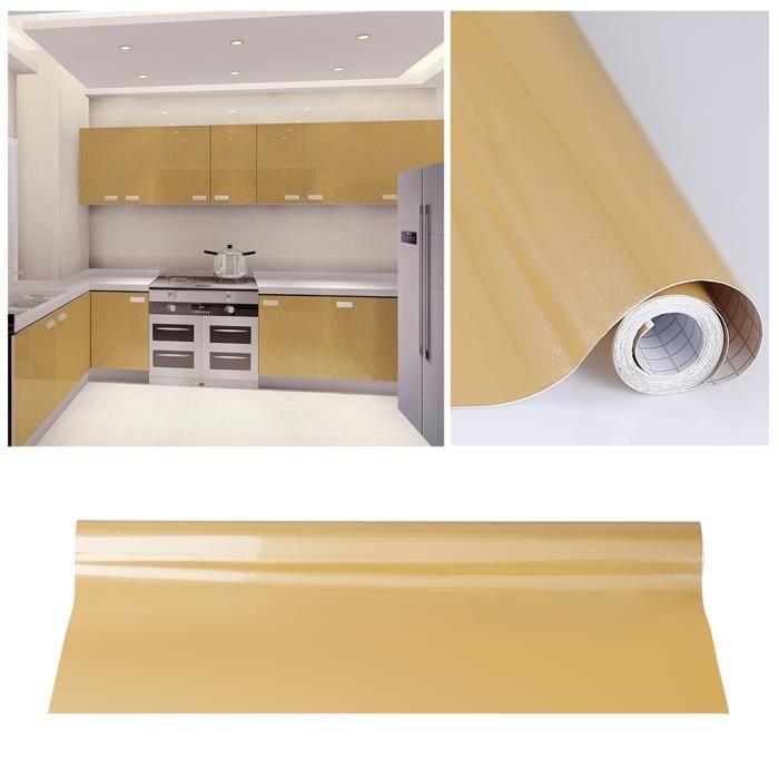 Kinlo® 5M*0.61M Papier Peint Auto-Adhésif Or Pour Armoire Meuble Cuisine En  PVC Stickers Autocollant Muraux Décoration