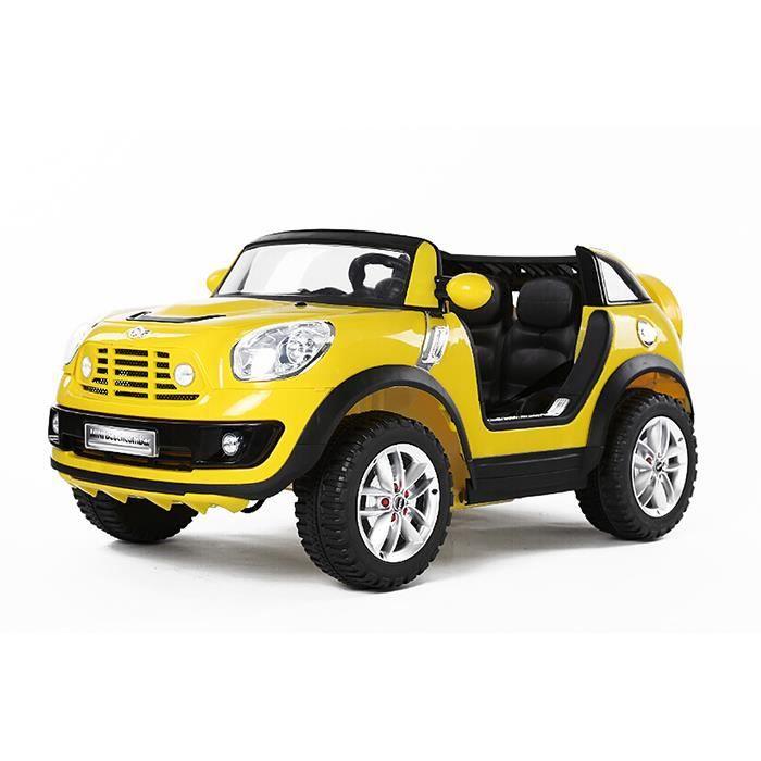 voiture lectrique pour enfant mini cooper countryman jaune achat vente voiture enfant. Black Bedroom Furniture Sets. Home Design Ideas