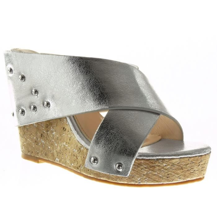Angkorly - Chaussure Mode Sandale Mule plateforme femme clouté lanière liège Talon compensé 11 CM - Argent - 429-8 T 41