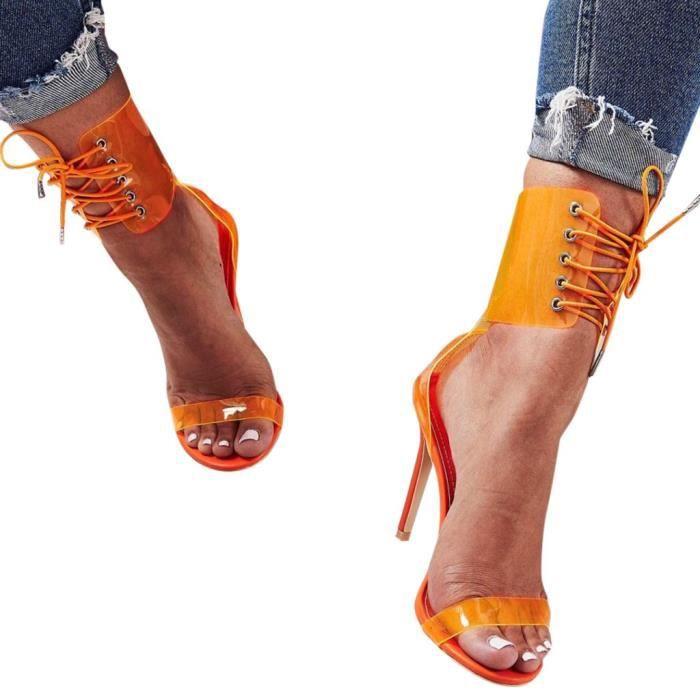 SANDALE - NU-PIEDS PVC Jelly sandales Toed femmes de talons hauts sex