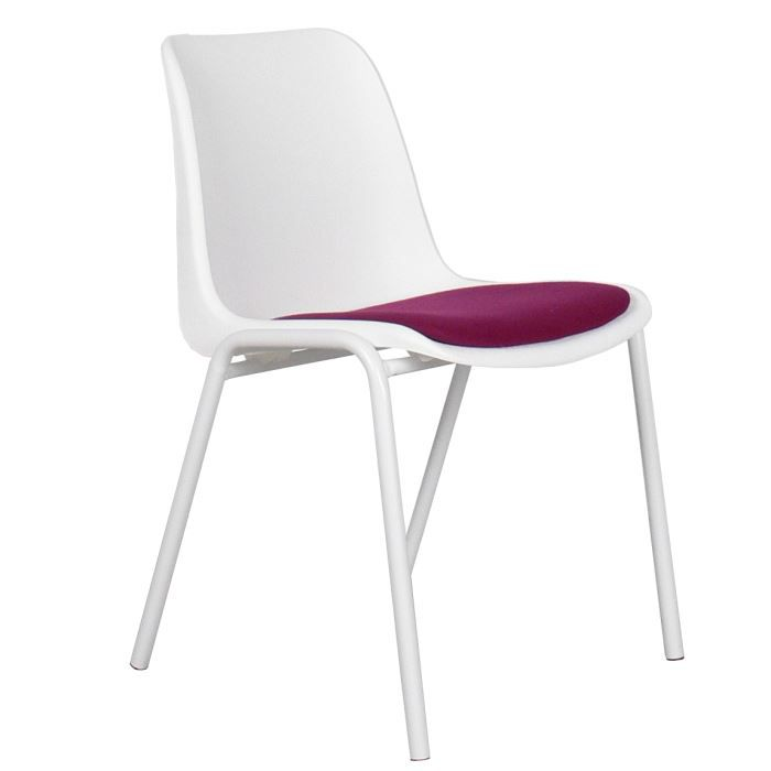 Chaise design blanche assise magenta