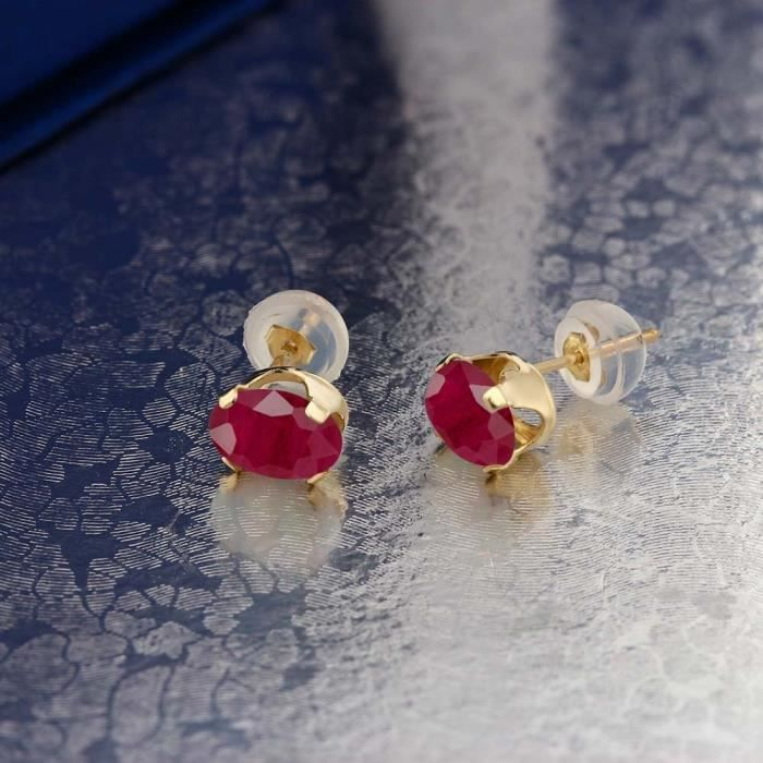 Womens 2.04 Ct Oval 7x5mm Red Ruby 14k Yellow Gold Stud Earrings CI4G3